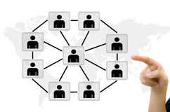 Hand pushing people communication social network. On whiteboard Royalty Free Stock Photo