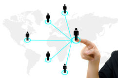 Hand pushing people communication social network. Business young hand pushing people communication social network on whiteboard Royalty Free Stock Photography