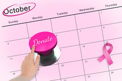 Hand pushing pink button for breast cancer awareness Royalty Free Stock Images