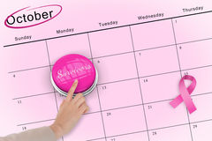 Hand pushing pink button for breast cancer awareness Stock Photography
