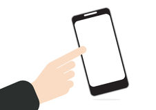 Hand pushing or press on touch screen at mobile phone in hand pushing or press on touch screen  Royalty Free Stock Image