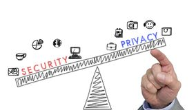 Hand pushing privacy above security concep Stock Photos