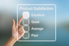 Hand pushing product satisfaction on virtual screen Stock Photos