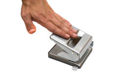 Hand pushing the puncher Royalty Free Stock Photos