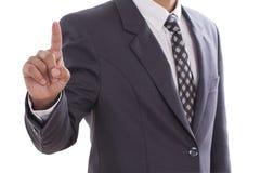 Hand pushing screen Stock Photo