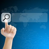 Hand pushing a search button on a touch screen interface Stock Image