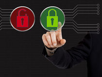 Hand pushing  security button Stock Images