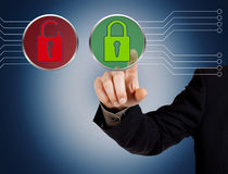 Hand pushing security button Stock Image