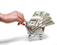 Hand pushing shopping cart Royalty Free Stock Photography