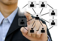 Hand pushing social network. Young business pushing social network structure in a whiteboard Stock Images