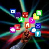 Hand pushing social network structure Royalty Free Stock Photo