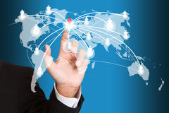 Hand pushing social network Royalty Free Stock Images