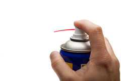Hand pushing spray can. Isolated over white background Stock Image