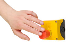 Hand pushing stop button Stock Image