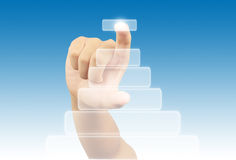 Hand pushing a touch screen Stock Images