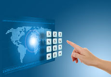 Hand pushing touch screen button. With blue background with map Stock Photography