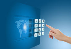 Hand pushing touch screen button. With blue background with map Stock Images