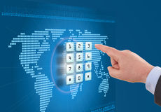 Hand pushing touch screen buttons Stock Image