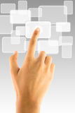 Hand pushing touch screen icon. Hand pushing white touch screen button Stock Photography