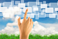 Hand pushing touch screen icon Royalty Free Stock Photography