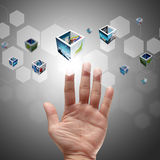 Hand pushing on a touch screen interface Royalty Free Stock Photography