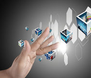 Hand pushing on a touch screen interface Royalty Free Stock Photo