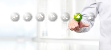 Hand pushing on a touch screen interface gardening symbol icon,. Web banner vector illustration