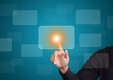 Hand pushing on touch screen interface. Male hand pushing on touch screen interface Royalty Free Stock Image