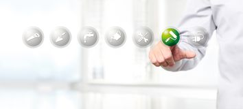 Hand pushing on a touch screen interface paint roller symbol ico. N, web banner Royalty Free Stock Images
