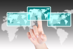 Hand pushing and touch world map button with technology backgroud Royalty Free Stock Photos