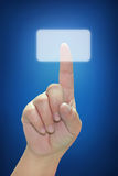 Hand Pushing Touchscreen Button Royalty Free Stock Photography