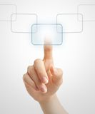 Hand pushing virtual button Stock Photo