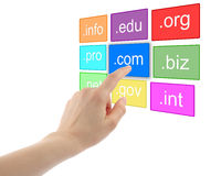 Hand pushing virtual domain name. On white background, internet concept stock images