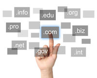 Hand pushing virtual domain name. On white background, internet concept royalty free stock photos