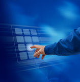 Hand pushing virtual keypad. Male hand finger pushing virtual keypad button Royalty Free Stock Photography