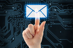 Hand pushing virtual mail button Stock Image