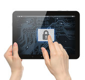 Hand pushing virtual security button stock images