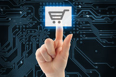 Hand pushing virtual shopping button Stock Photos