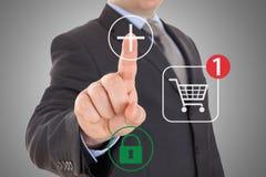 Hand pushing virtual symbol Add or Buy Royalty Free Stock Photos