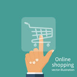 Hand pushing in virtual symbol. Hand pushing in virtual screen symbol of online shopping cart. Shopping online concept. Hand pressing button buy. Vector Stock Images