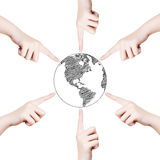 Hand Pushing World Map Globe line Royalty Free Stock Photos