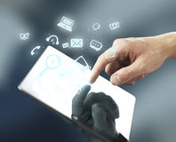 Hand pusning tablet Royalty Free Stock Photo