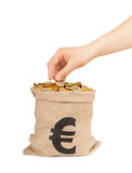 Hand put coin in bag with money Stock Photography