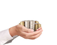 Hand put coin to money Royalty Free Stock Images