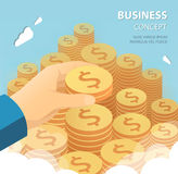 Hand put coin to money staircase. Business success concept. Royalty Free Stock Photo