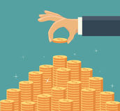 Hand put coin to money staircase. Vector illustration Royalty Free Stock Photo