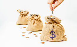 Hand put down money coin to growing bag with white background,Ba. G of coins,Bags filled with coins,finance concept,business background,money content and royalty free stock photos