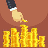 Hand put gold coins to stack vector business finance concept Royalty Free Stock Photos