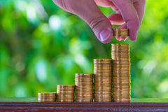 Hand put growing coins stacks with green bokeh background. Finan. Hand put growing coins stacks on brown wood with green bokeh background. Financial growth Royalty Free Stock Photography