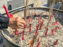 Put incense stick in to the pot. Hand put incense stick in to the pot Stock Images